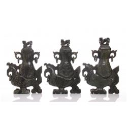 Three(3) Chinese carved soapstone vases with Foo Dog li