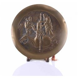 Japanese Meiji period bronze wall charger motif of two