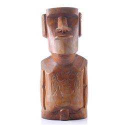 Easter Island wood carved nude fetish figure with incis