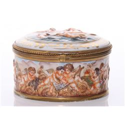 1920's Capodimonte porcelain box.  Youthful cherubs ser
