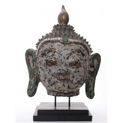 A very large mid century mixed media Hindu God bust.  V