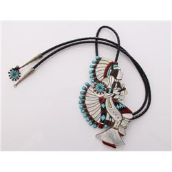 Zuni Native American Bola tie with silver and inlaid tu