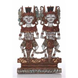 Antique Java, Indonesian painted wood temple carving wi