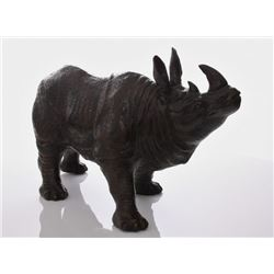Mid Century bronze Rhinoceros, with fine details throug
