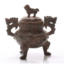 Antique Asian bronze censor with foo dog and dragon.  S