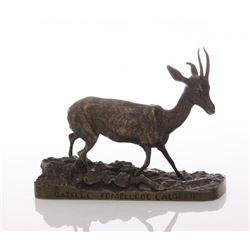 """Pierre-Jules Mene (1810 -1879) bronze Gazelle, signed """""""