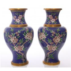 Two(2) large vintage blue cloisonne vases with flowers.