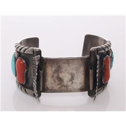 Native American old pawn Navajo watch bracelet signed