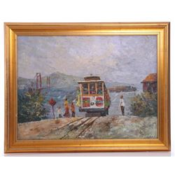 Original oil on canvas, San Francisco trolley and Golde