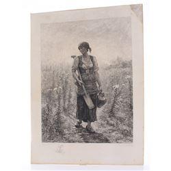 Jules Breton ( 1827-1906) 1866 Very rare etching, penci