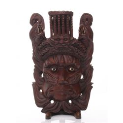 Early 20th Century Chinese rosewood carved mask with in