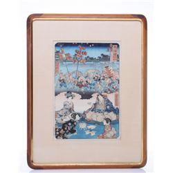 Early 20th Century Japanese wood block print.  SIZE: se