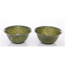 Pair of early 20th Century, Chinese spinach jade footed