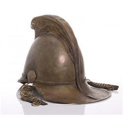 Antique English Fire Brigade brass helmet.  Markings: C