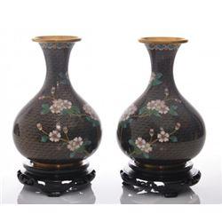 Two(2) vintage black cloisonne vases with flowers.  SIZ