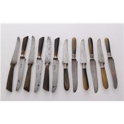 Set of rare Pinay Fortias Au Diamant horn handle knives