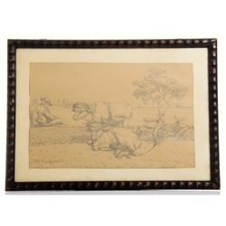 Original pencil drawing of  a resting man next to oxen,