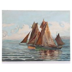 AED signed oil painting of European boats, oil on artis