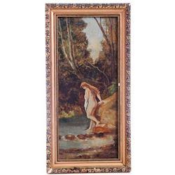 Bordigoni signed oil painting  on wood panel, romantic