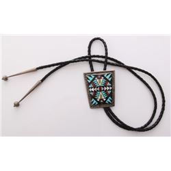 Zuni Native American Bola tie made with silver with tur
