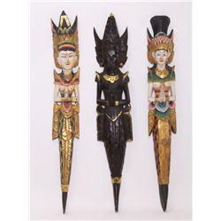 Three(3) vintage Thai / Indonesian wood carved art.  SI