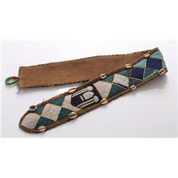 Vintage African Yoruba diviner's beaded leather belt.