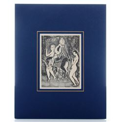 "Leonard Foujita 1925 woodcut from  ""Les Aventures Du Ro"