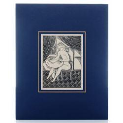 "Leonard Foujita 1925 woodcut from  ""Les Aventures Du R"