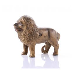 Antique, cast iron Lion still bank.  SIZE: see attached