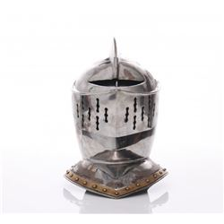 Vintage Knight's helmet.  SIZE: see attached ruler phot