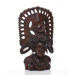Vintage Balinese rosewood carving of god.  SIZE: see at