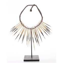 Native American tribal porcupine quill and cowrie shell