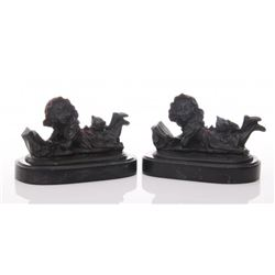 Two(2) Antique bronze bookends of a young girl reading