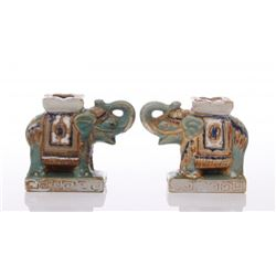 Two(2) vintage glazed porcelain Elephants.  SIZE: see a