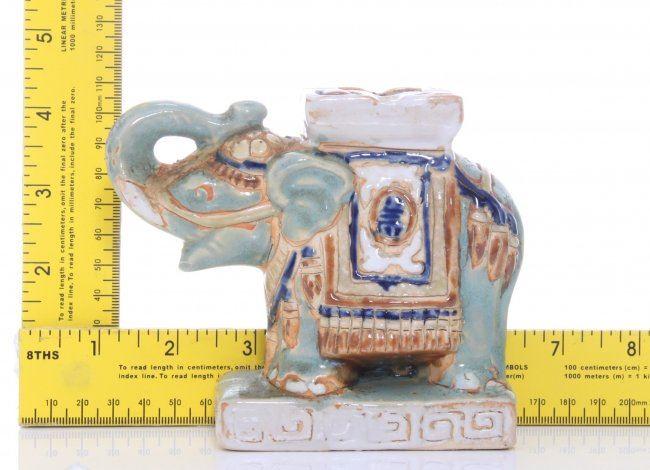 Two(2) vintage glazed porcelain Elephants  SIZE: see a