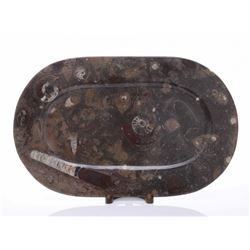 Mixed fossil server tray carved from stone.  SIZE: see