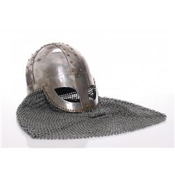Medieval style helmet with chain mail.  SIZE: see attac