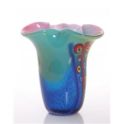 Vintage multi color blown glass vase.  SIZE: see attach