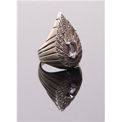 Vintage Art Deco sterling silver amethyst oval cut ston
