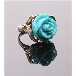 Vintage sterling silver ring with rose carved turquoise