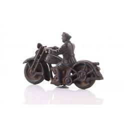 Vintage Cast Iron Police Patrol Motorcycle.    SIZE: se