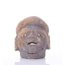 Antique Indonesian wood carved puppet head.  SIZE: see