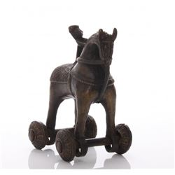 Early 20th Century, India bronze child's horse pull toy