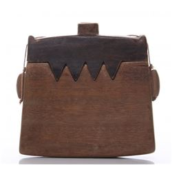 Antique two piece wood tobacco purse.  This may have al
