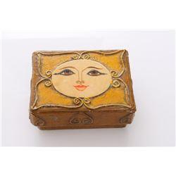 Vintage Folk art paper mache vanity dresser box signed