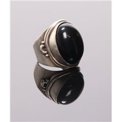 Antique sterling silver and onyx ring.  Ring Size: 7.5