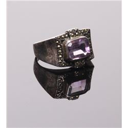 Antique sterling silver ring with princess cut amethyst