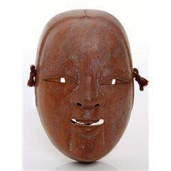 Antique Japanese wood carved Okame mask.  Goddess Okame