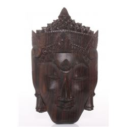 Vintage Balinese carved rosewood wall hanging.  SIZE: s