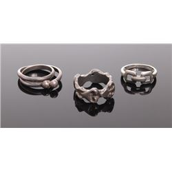 Three(3) antique sterling silver rings.  Ring Size: 7